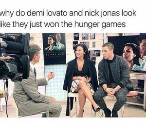 demi lovato, nick jonas, and funny image