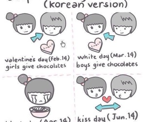 korean day, valentine's day (feb. 14), and white day (march. 14) image