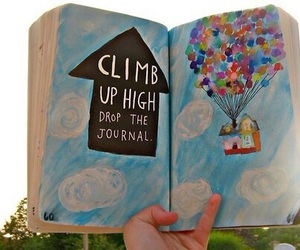 up, balloons, and book image