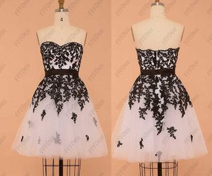 black and white, evening dress, and lace image