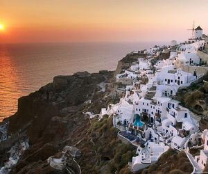 sunset, Greece, and city image