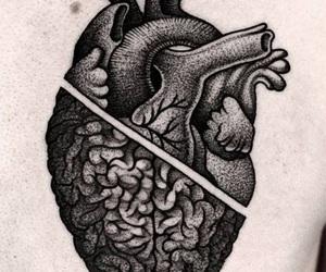 heart, tattoo, and brain image