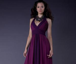 v-neck bridesmaid dress and purple bridesmaid dress image