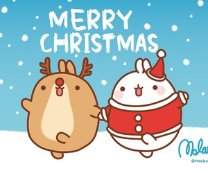 christmas, snow, and molang image