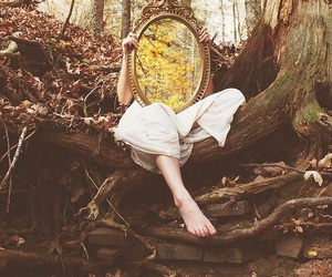 mirror, fantasy, and leaves image