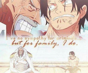 one piece, ace, and garp image