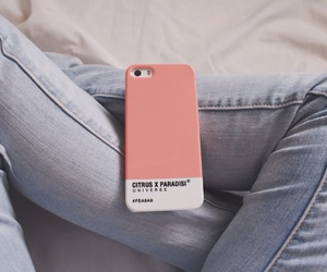 iphone, jeans, and pink image