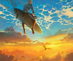 sky, surf, and art image