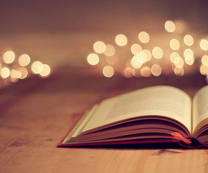 bokeh, twinkle lights, and vintage books image