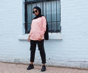 black, hijab, and pink image
