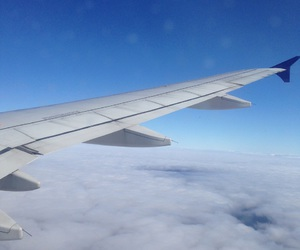 airplane, clouds, and heaven image