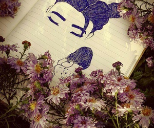 art, flowers, and girls image
