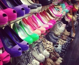 girls, neon, and shoes image