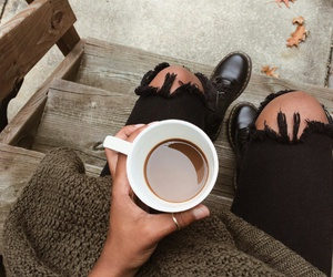 autumn, coffee, and boots image