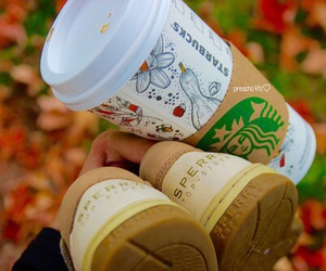 fall, shoes, and starbucks image