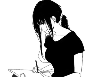 girl, manga, and black and white image