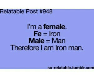 female, iron man, and funny image