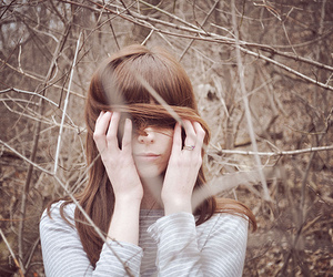 girl, trees, and hair image