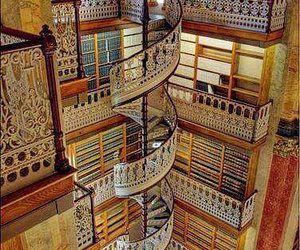 library, book, and stairs image