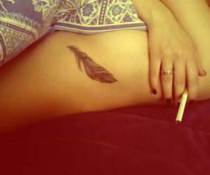 body, feather, and smoke image