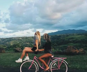 friends, bike, and friendship image
