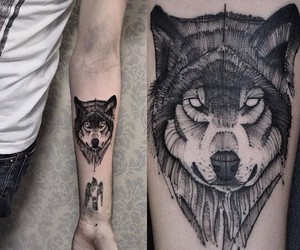 art, wolf, and tattoo image