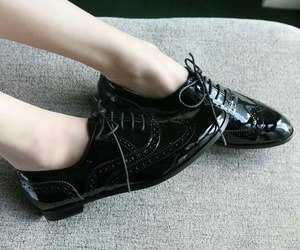 fashion, black, and oxford shoes image