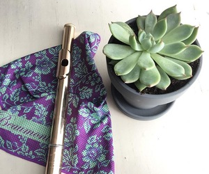 flute, plants, and purple image