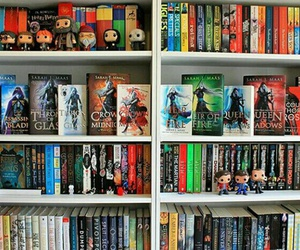 bookcase, funko pop, and books image