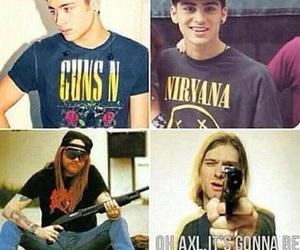 nirvana, axl rose, and kurt cobain image