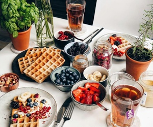berries, food, and waffles image