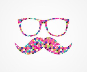 mustache, pink, and glasses image