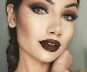 makeup, brown, and lips image