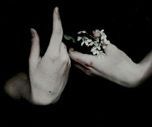 black, flower, and hands image