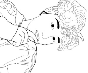 black and white, outline, and girl outline image