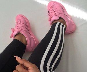 adidas, pink, and nails image