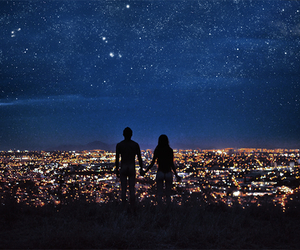 love, night, and stars image