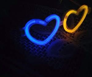 glasses, heart, and neon image