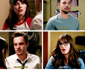 ness, nick miller, and jessica day image