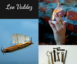fire, percy jackson, and leo valdez image