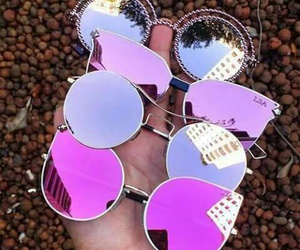 beautiful, glasses, and pink image