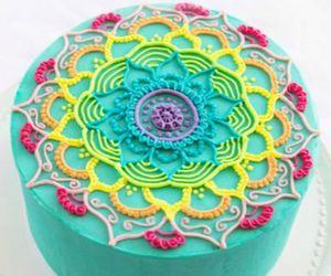mandala, cake, and colors image