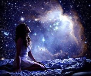 girl, stars, and galaxy image
