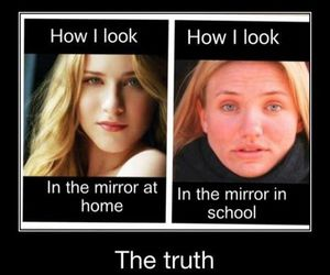 mirror, true, and girl image