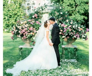 bride and groom, ceremony, and couple image