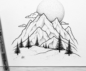 drawing and mountains image