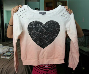 heart, sweater, and pink image