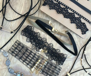 fashion choker necklaces, lace choker necklace, and grey choker necklace image