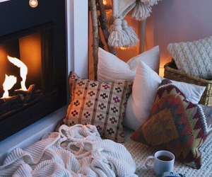 bed, cosy, and fire image