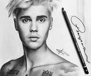 art, drawing, and justin bieber image
